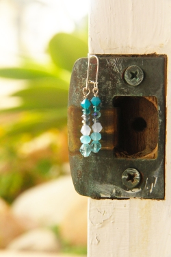 blue drop earring door