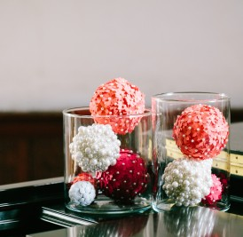 Vases of decorative balls