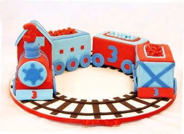 Fondant candy train cake