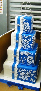blue ruffle white lace cake