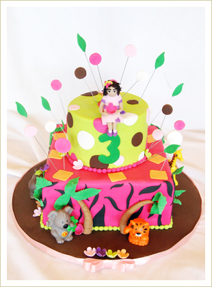 Jungle little girl birthday cake