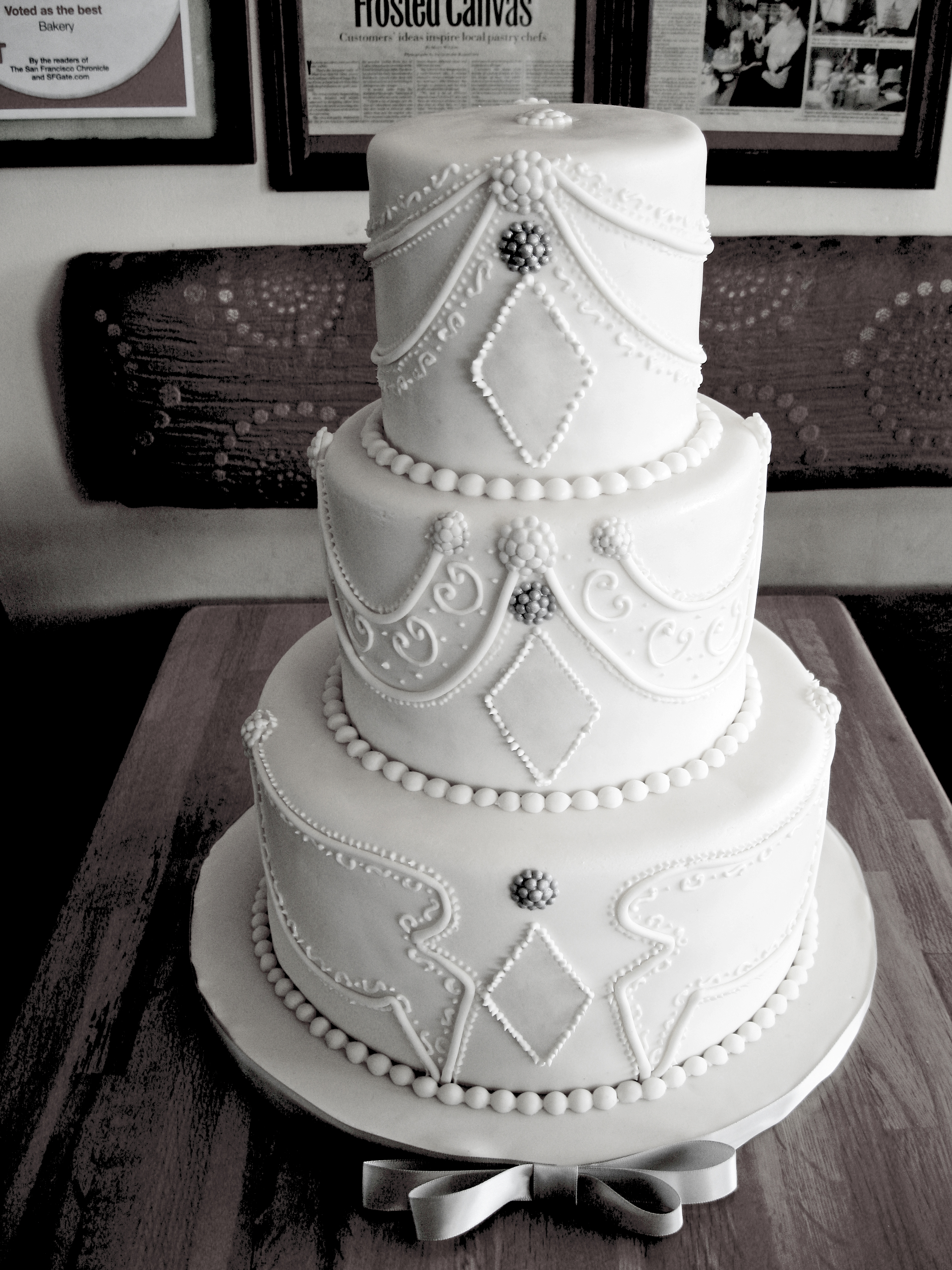 White Henna Wedding Cake Branching Fig